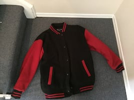 Black and red button up Varsity jacket