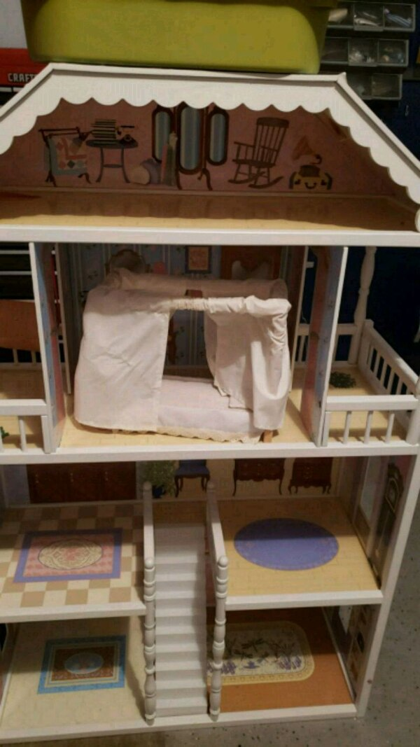 Wooden doll house and all furnishings