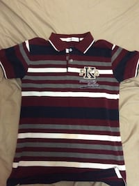 maroon, white, and gray striped polo shirt
