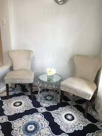 Two Accent Chairs one Side Table and Area rug 5x8 Burke
