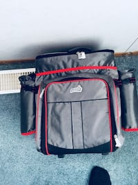 gray and red thermal bag
