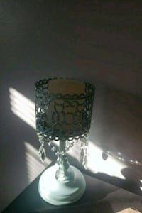 Teal chandelier candle holder with candle
