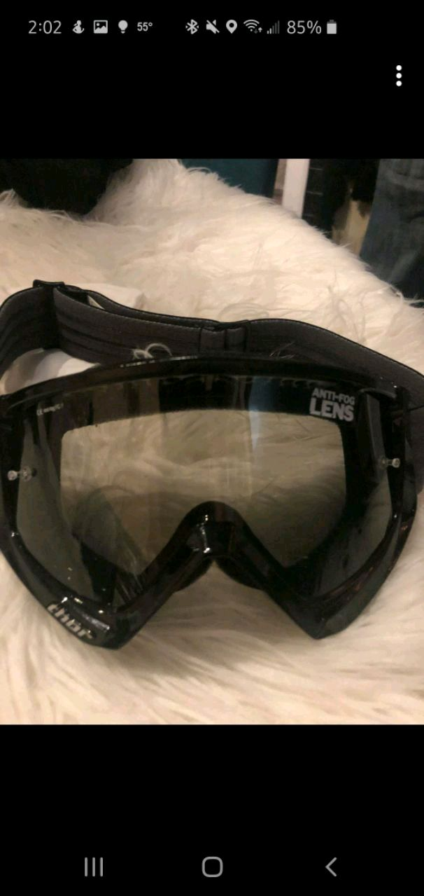 Photo Thor motocross helmet, goggles and boots, Fox gloves