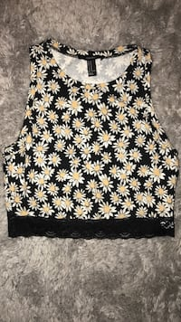 Black, white, and yellow floral laced scoop neck sleeveless crop top