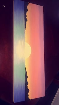 Original sunset painting on hardwood Richmond