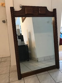 rectangular mirror with brown wooden frame Montreal