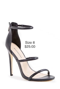 Black and gray leather open toe ankle strap heels Toronto, M1W 2E3