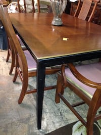 rectangular brown wooden table with four chairs dining set 1198 mi