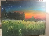 Original artwork! Summer night field oil painting  Manassas, 20109