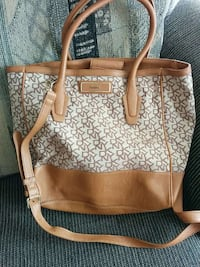 beige and brown leather 2 way tote bag