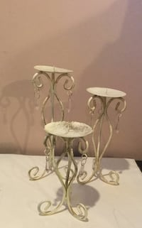 3 distressed white candle holders Edmonton, T5A