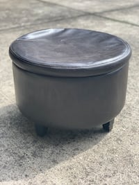 Brown Leather Round Ottoman with Storage