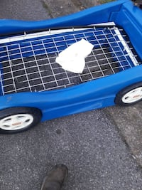 blue and white plastic bed frame