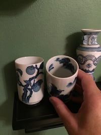 Blue & white oriental themed ceramic  cups & vase. Price for ea pc