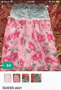 denim with pink floral skirt by GUESS