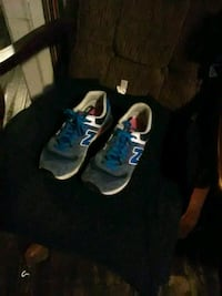pair of blue-and-white basketball shoes