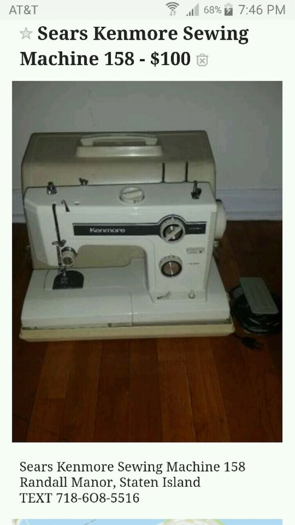 Used Sears Kenmore Sewing Machine 40 For Sale In Staten Island Letgo Enchanting Kenmore 158 Sewing Machine
