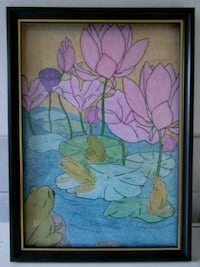 A4 FROG POOL PENCIL COLOUR WALL ART IN FRAME  London