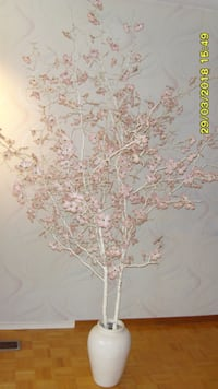 white and pink floral hanging decor null