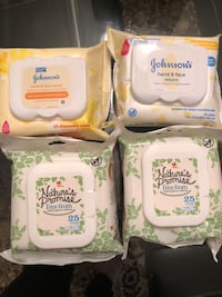 4 packs Natures Promise, J&J baby wipes