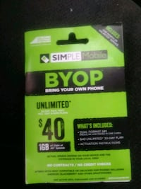 $40 Simple Mobile card Springfield, 65804