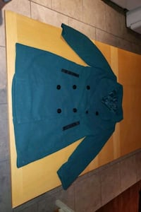 Green button up coat large never worn
