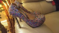 pair of multicolored floral platform stilettos Toronto, M9N 3S3