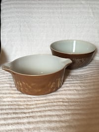 2 Pyrex Brown Ovenware Bowls—Gold Rooster & White Floral Patterns—Will Sell Together or Individually Vienna, 22180