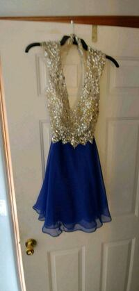 women's blue and gold sleeveless dress Shelby charter Township, 48316