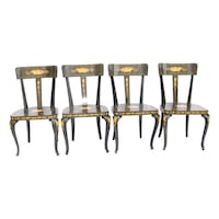 Biedermeier-Style Inlaid Dining Chairs -Set of 4 2265 mi