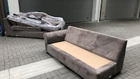 Grey Suede sectional sofa couch 2272 mi