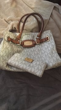 white and brown Michael Kors leather tote bag Paramount, 90723