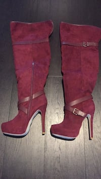 pair of red suede heeled boots Vaughan, L6A 1M9