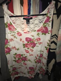 white, red, and green floral scoop neck sleeveless top Imperial, 92251