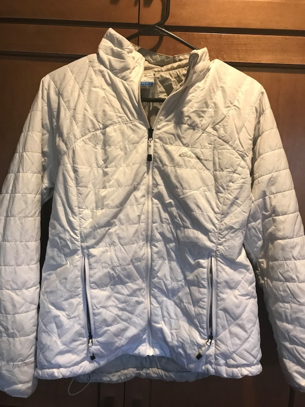 3902ee1ad white zip-up bubble jacket