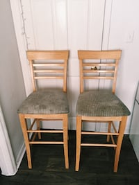 two brown wooden framed gray padded chairs Kissimmee, 34741