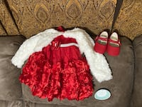 12 month red dress with shoes $6.00