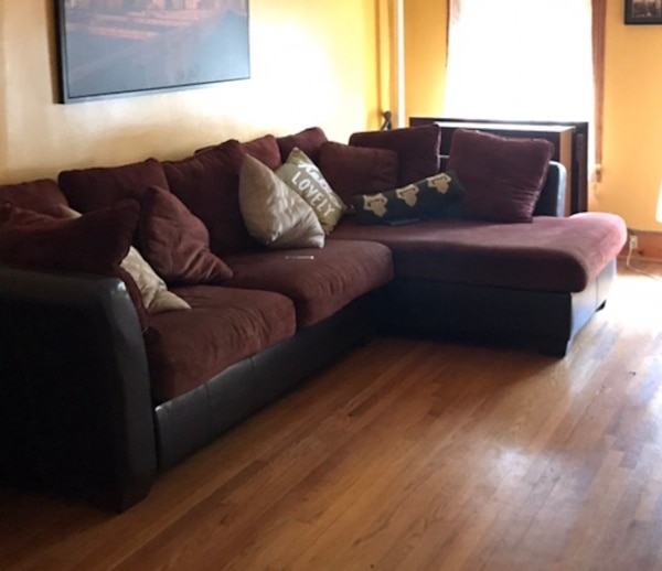 Sensational Used Black Leather And Wine Colored Sectional Couch For Sale Uwap Interior Chair Design Uwaporg