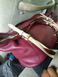red and brown leather tote bag Chandler, 75758