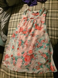 white, green, and pink floral scoop-neck sleeveless mini dress