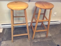 Two brown wooden bar stools Montreal, H4C 2C7