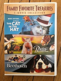 3 movie collection. Family favorite treasures. Dr. Seuss' The Cat in the Hat. Babe. Beethoven. DVD two disc set Long Beach, 11561