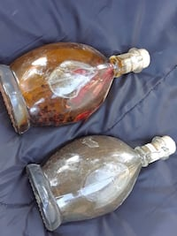 two clear glass bottles