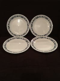 "4 Corelle 8.5"" Plates—Navy Blue Trim—Old Town Blue Pattern Vienna, 22180"