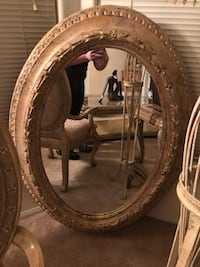 oval brown wooden framed mirror Los Angeles, 91406