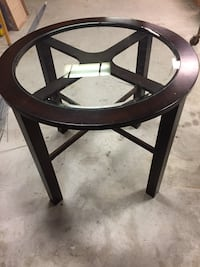 Brown wooden round high top table with glass top Bellmawr, 08031