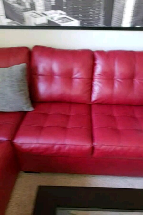 Red Leather Couch and Coffee Table