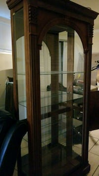 brown wooden framed glass display cabinet Chicago
