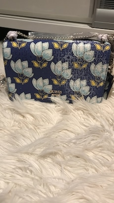 Women's Guess NEW blue, white and yellow leather floral sling bag
