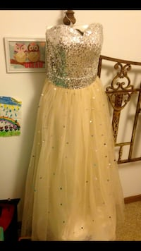 Tan and silver sequined strapless sweetheart neckline formal dress